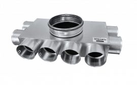 RKJ 08-as horganyzott acél egysoros osztódoboz, 75 mm-es leágazásokkal (2+4+2)